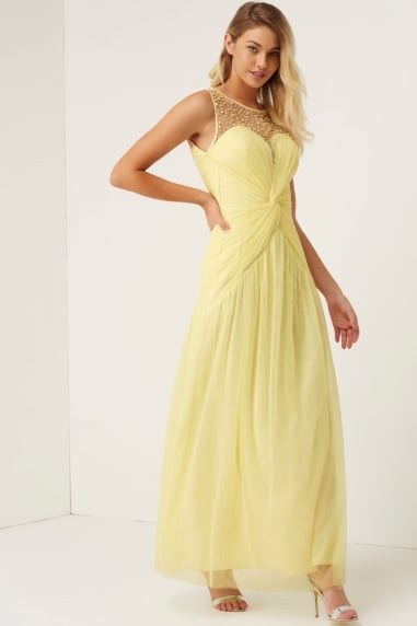 Lemon Knot Waist Maxi Dress