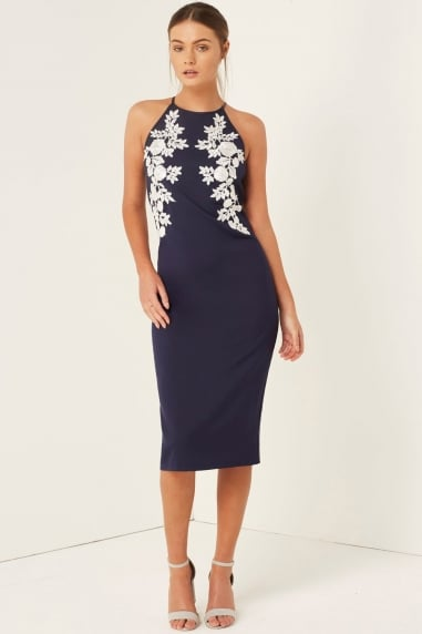Navy Floral Applique Bodycon Dress