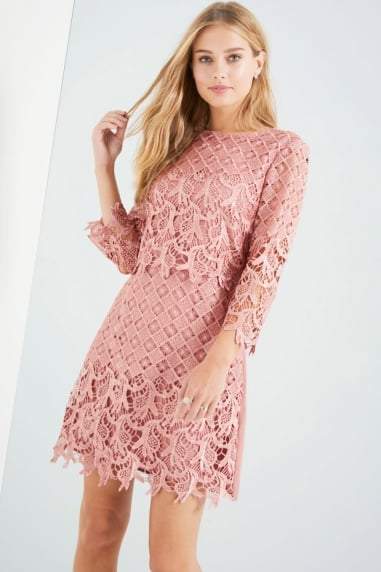Apricot Crochet Shift Dress