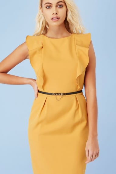 Mustard Fluted Dress