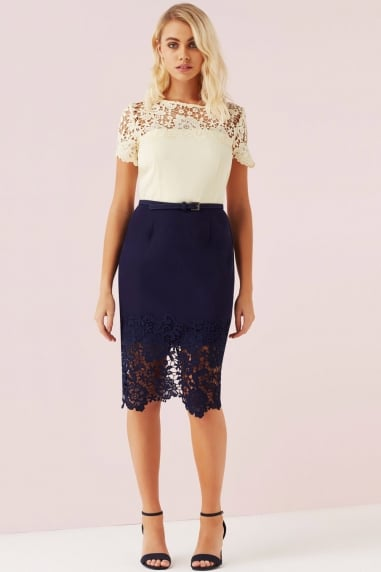 Cream And Navy Lace Panel Dress