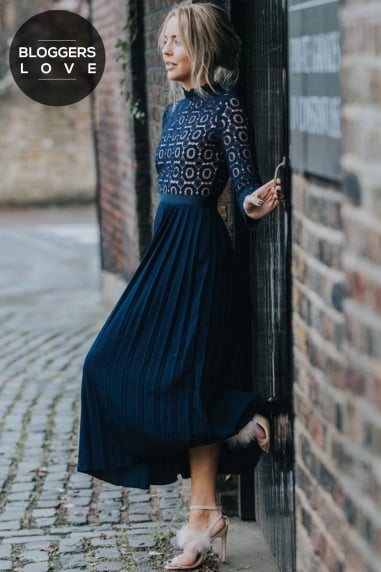 Navy Crochet Lace Midi Dress With Pleats