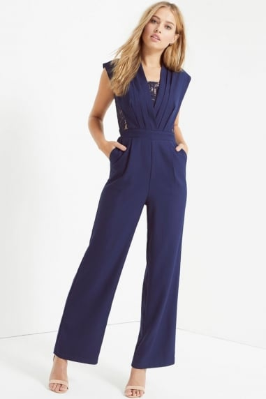 Navy Lace Pleat Jumpsuit