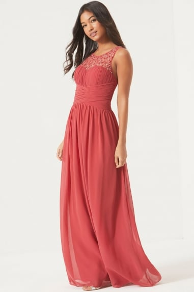 Grace Terracotta Embellished Neck Maxi Dress