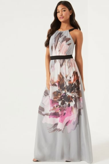 Floral Placement Printed Maxi Dress