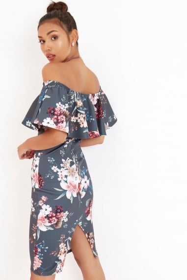 Floral Print Ruffle Bardot Dress