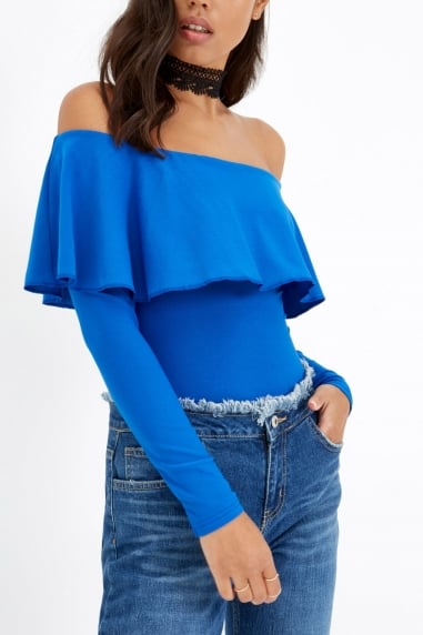 Blue Off The Shoulder Bodysuit