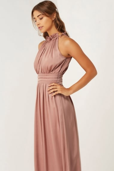 Rose Frill Halter Neck Maxi