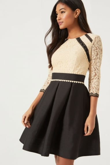 Beige Lace Fit and Flare Dress