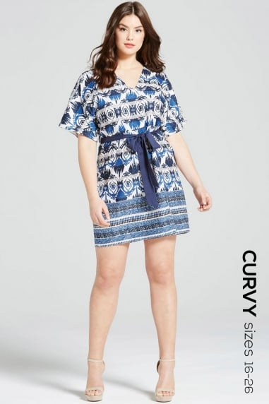 Navy Aztec Print Dress