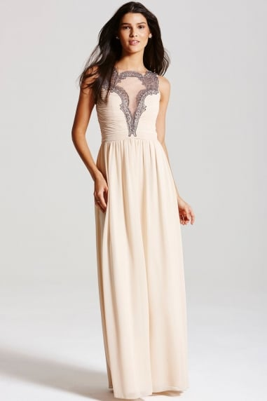 Cream Chiffon Mesh Insert Maxi Dress