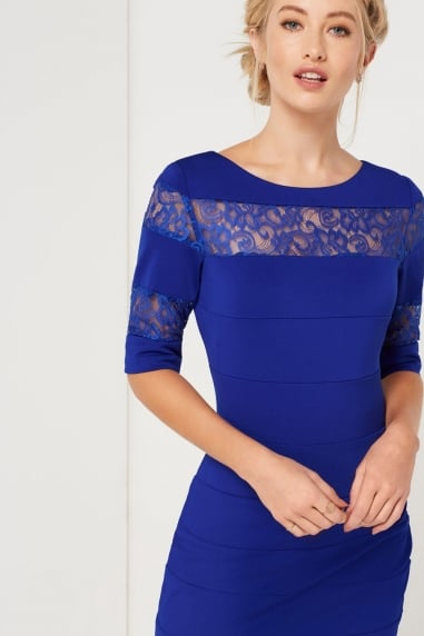 Blue Lace Insert Dress