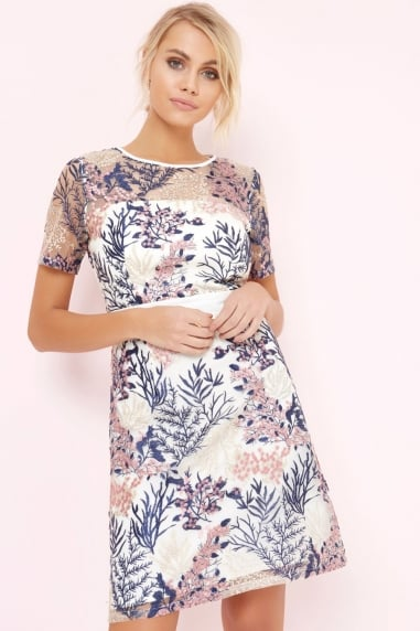 Floral Print Embroidered Dress