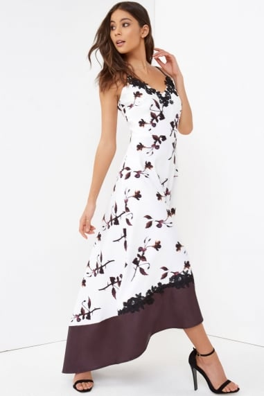 Print Dip Hem Maxi Dress