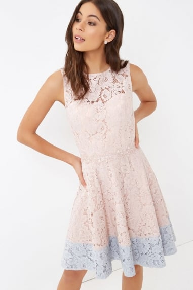Pink Lace Mini Dress