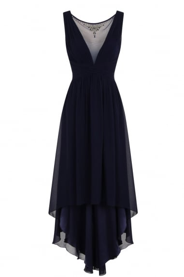 Navy Dipped Hem Maxi Dress