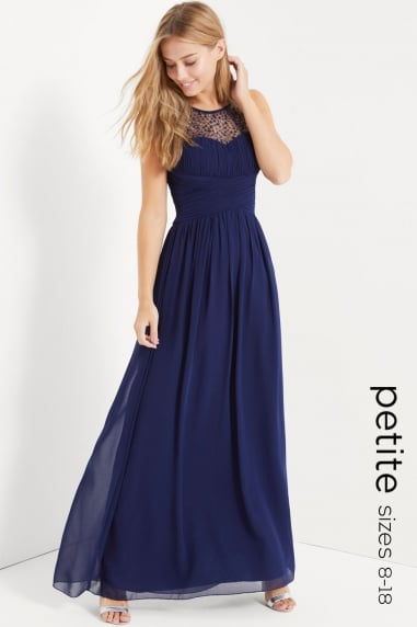 Navy Petite Embellished Maxi Dress