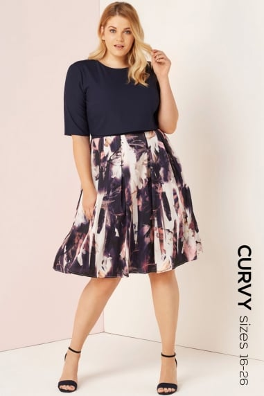 Floral Blur Print 2 In 1 Dress