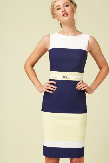 Navy Colour Block Dress