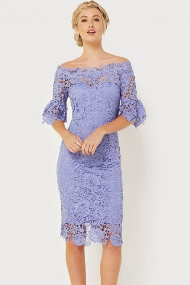 Blue Crochet Bardot Dress