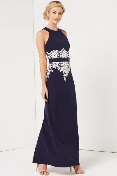 Navy Crochet Waist Maxi Dress