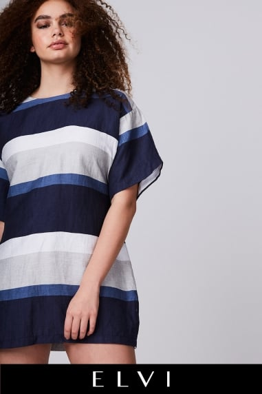 Blue Stripy Linen Dress