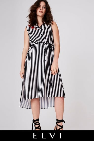 Stripe Sleevless Shirt Dress
