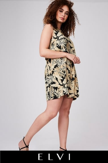 Tropical Print Overlay Dress
