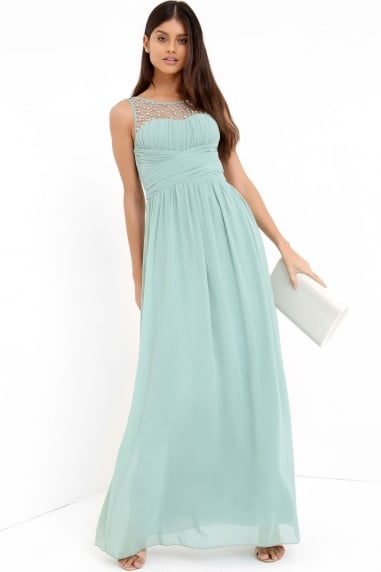 Grace Sage Embellished Neck Maxi Dress