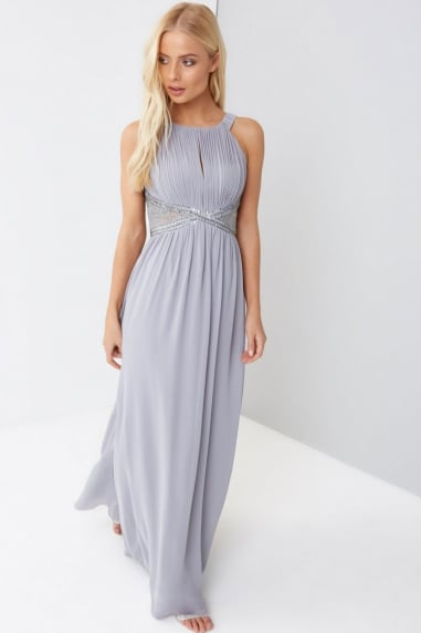 Grey Embellished Panel Maxi
