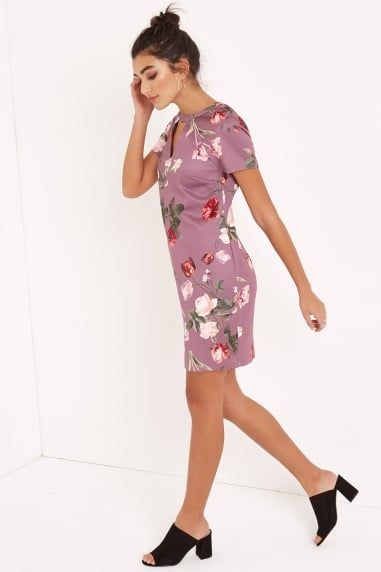Tulip Print Shift Dress With Keyhole