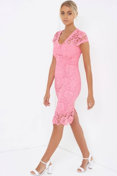 Pink Crochet Lace Pencil Dress