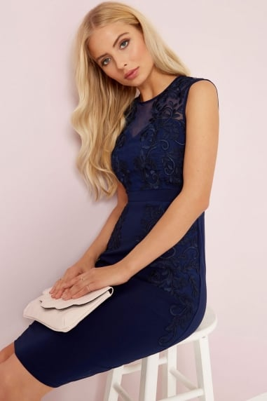 Navy Embroidered Bodycon Dress