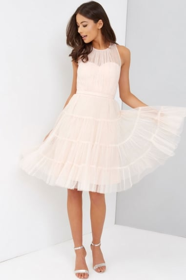 Tulle Nude Prom Dress