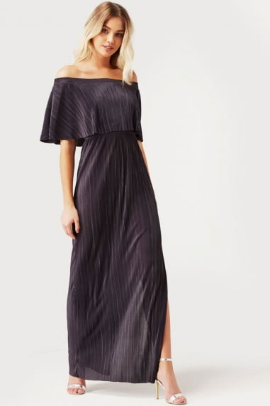 Grey Crinkle Ruffle Maxi Dress