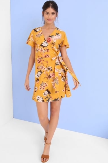 Yellow Print Shift Dress