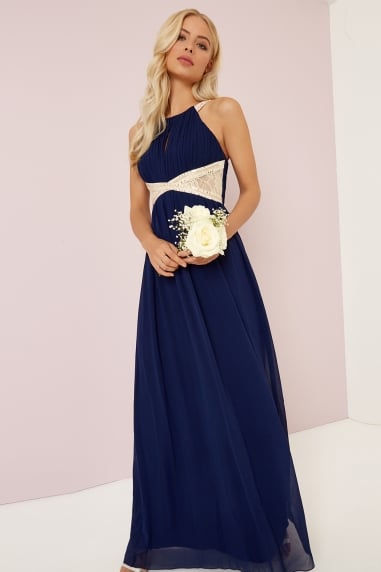 Navy Embellished Lace Panel Detail Maxi