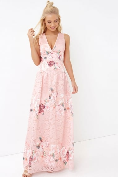 Pink Floral Lace Maxi Dress