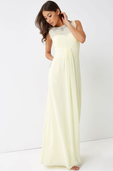 Lemon Embellished Neck Maxi Dress