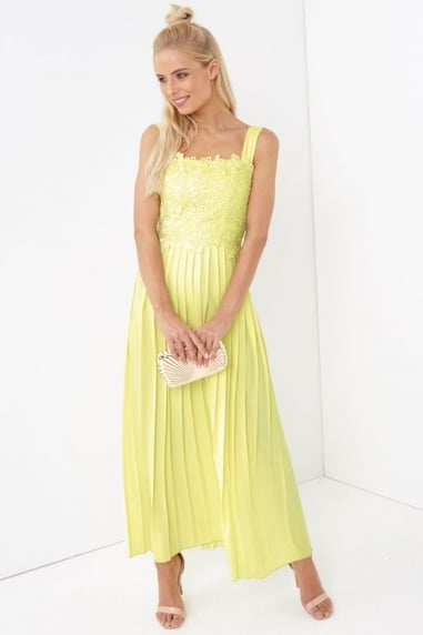 Lemon Pleat Skirt Maxi Dress