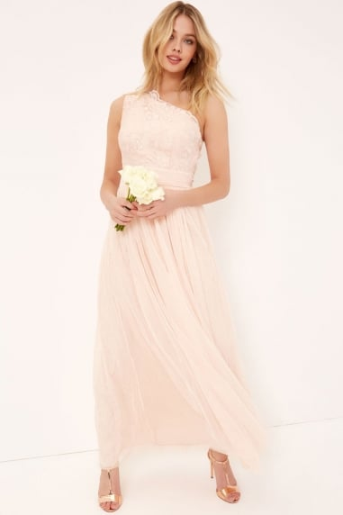 Nude Embroidery and Sequin Maxi Dress