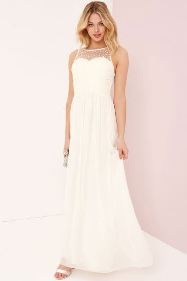 Grace Cream Embellished Neck Maxi Dress