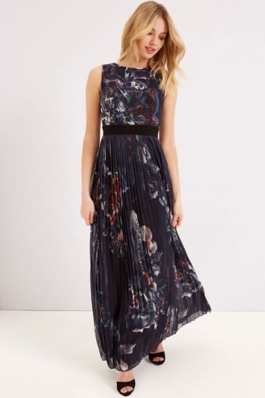 Print Maxi Dress With Pleat Skirt