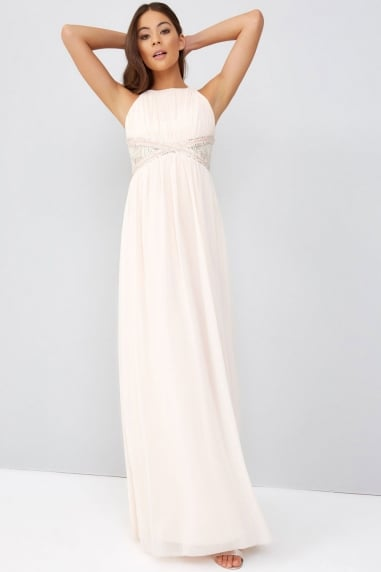 Nude Embellished Panel Maxi