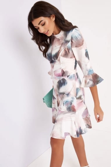 Print Fluted Shift Dress