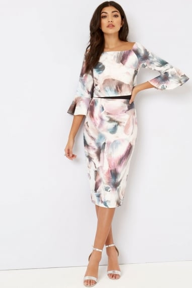 Print Fluted Dress