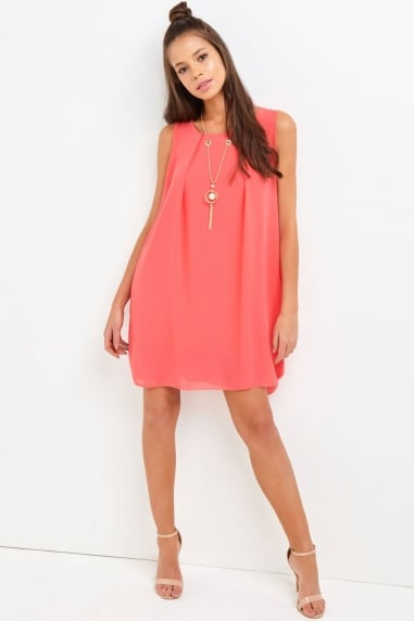 Coral Shift Dress
