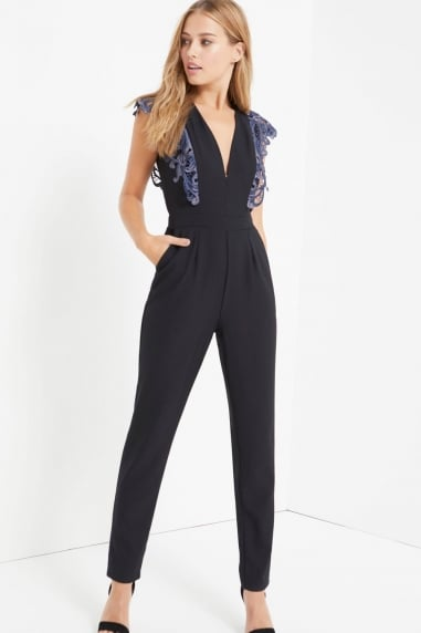 Black Crochet Waist Jumpsuit