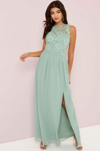Sage Lace Top Maxi Dress
