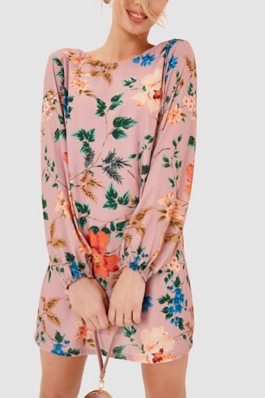 Pink Floral Print Shift Dress